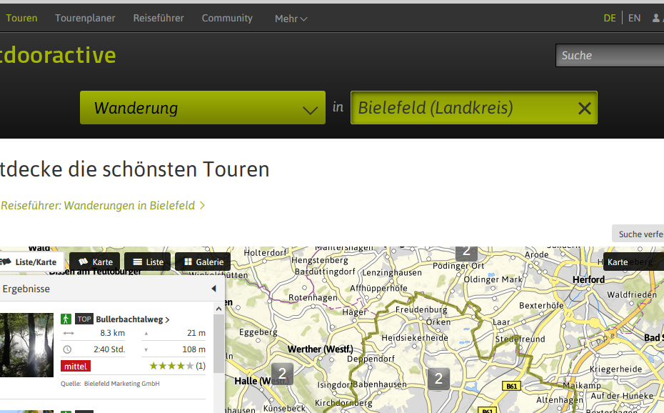 Screenshot von Outdooractive.com