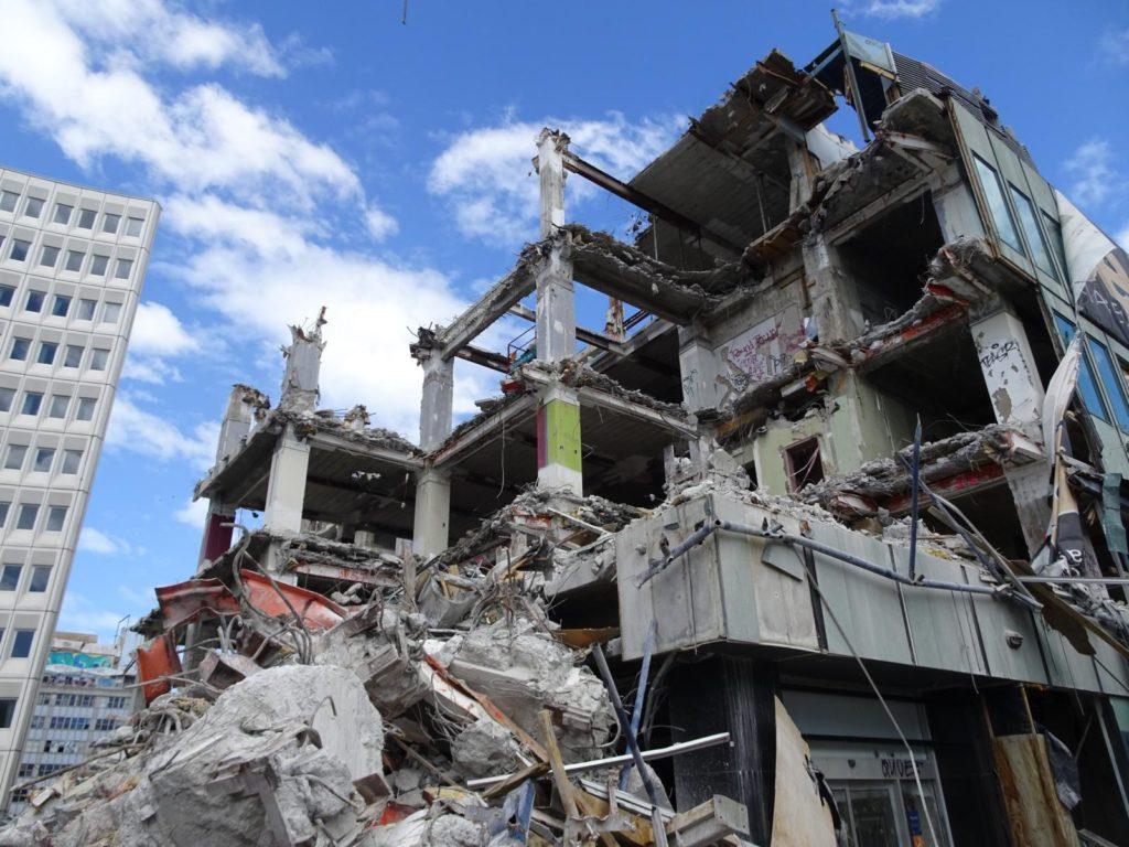Christchurch -Abriss einer Ruine