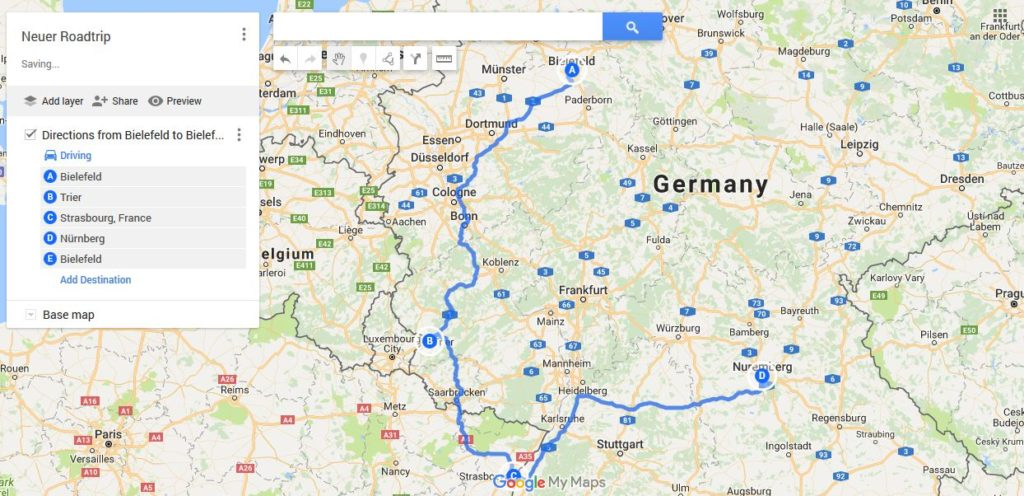 Roadtrip planen mit Google My Maps